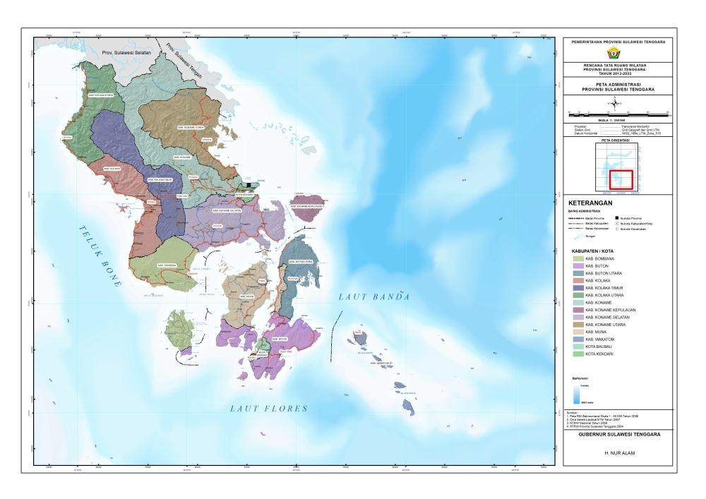 Peta Administrasi Sulawesi Tenggara